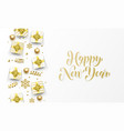 happy new year golden greeting card gold gifts vector image vector image