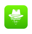 hipster hat icon green vector image