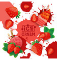 ice cream with strawberry taste dessert colorful vector image vector image