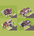 isometric villa compositions set vector image
