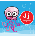 J Jellyfish color cartoon and alphabet for vector image vector image