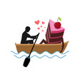 lover of cakes man and piece of cake ride in boat vector image vector image