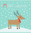 merry christmas candy cane cute cartoon deer with vector image vector image