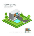 modern home isometric with lawn vector image