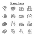 money icons set in thin line style vector image