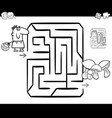 mushrooming maze coloring page vector image vector image