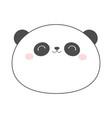 panda bear round face head sketch line icon vector image vector image