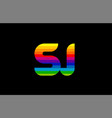 rainbow color colored colorful alphabet letter sj vector image vector image