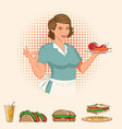 retro lady with a plate full food vector image