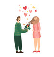 romantic couple on first date people in love vector image vector image