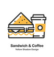 sandwich and coffee lineal color vector image vector image