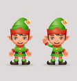 santa claus helper christmas elf boy new year 3d vector image vector image