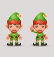 santa claus helper christmas elf boy new year 3d vector image