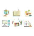 school supplies set globe copybook books apple vector image vector image