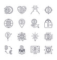 set of bitcoin line icons investments vector image vector image