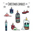 set of colorful hand-drawn doodle christmas vector image
