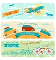 Set of horizontal travel banners in retro style vector image