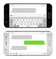 smart phones with sms chat on screens horizontal vector image vector image