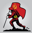 soviet union soldier carrying flag vector image vector image
