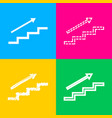 stair with arrow four styles of icon on four vector image vector image