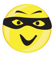 thief smile face button isolated vector image vector image