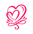 two lover calligraphic hearts handmade vector image vector image
