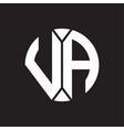va logo monogram with piece circle ribbon style vector image vector image