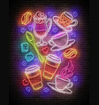 vintage glow signboard with a cups different vector image vector image