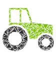 wheeled tractor collage of triangles vector image vector image