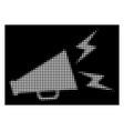 white halftone alert megaphone icon vector image