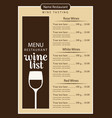 wine list menu with glass of wine and price list vector image vector image