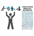 Winner Hands Up Icon with 1000 Medical Business vector image vector image