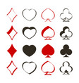 set of monochrome icons with playing cards symbols vector image