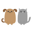 cartoon dog and cat puppy kitten mustache whisker vector image