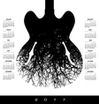 A 2017 calendar with a stunning image of a guitar vector image vector image