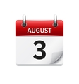 August 3 flat daily calendar icon Date vector image vector image