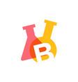 b letter lab laboratory glassware beaker logo icon