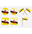 badges with flag of Brunei vector image vector image