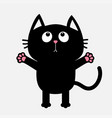 black cat looking up ready for a hugging open vector image vector image