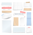 Blank Paper Sheets Strips Realistic Collection vector image