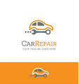 car repair logo combines wrench and car vector image vector image