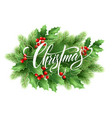 christmas lettering in holly tree wreath vector image