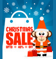 christmas sale background with funny monkey vector image