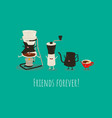 coffee brewing methods syphon coffee mill vector image vector image