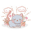 cute cat with kawaii clouds and hearts vector image vector image
