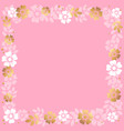 decorative square frame of pink and golden vector image vector image