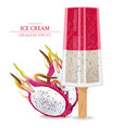 dragon fruit ice cream realistic product vector image vector image