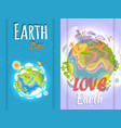 earth day banner of clean and polluted planets vector image vector image
