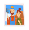 family portrait photo farmer and his wife vector image