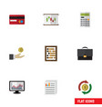 flat icon incoming set of chart counter document vector image vector image